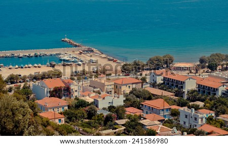 Karlovasi town: port and seaside district - Aegean Sea coast, Samos island, Greece - stock photo