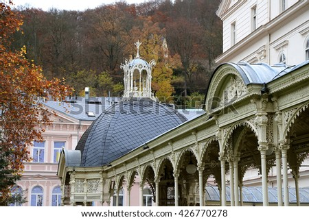 KARLOVY VARY (CARLSBAD), CZECH REPUBLIC - NOVEMBER 16, 2014: Karlovy Vary (Carlsbad) -- famous spa city in western Bohemia, very popular tourist destination in Czech Republic  - stock photo