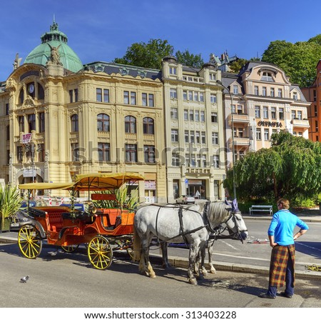 KARLOVY VARY, CZECH REPUBLIC - AUGUST 26, 2015: Spa houses and hotels in Carlsbad. Karlovy Vary (Carlsbad) is world famous for its healing hot springs - stock photo