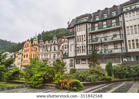 Karlovy Vary, Czech Republic. August 18, 2015: Street in Karlovy Vary in the summer. The resort city in western Bohemia in the area of the confluence of the Oh?e and Rolava heat. - stock photo