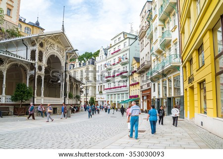 KARLOVY VARY, CZECH REPUBLIC - JULY 29, 2015: World-famous for its mineral springs, the town of Karlovy Vary (Karlsbad) was founded by Charles IV in the mid-14th century.