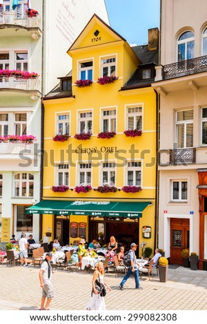 KARLOVY VARY, CZECH REPUBLIC - JUNE 30, 2015: Centre of Karlovy Vary, Czech Republic. It is the most visited spa town in the Czech Republic