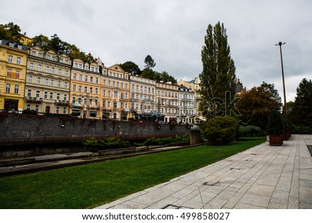 Karlovy Vary, Czech Republic. October of 2016 year. The old street with buildings.