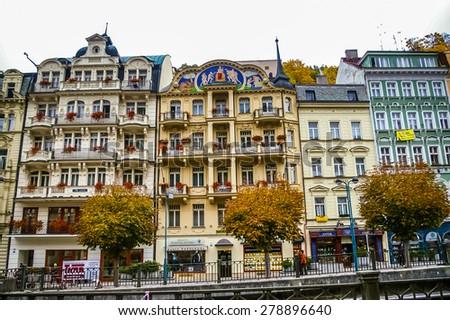KARLOVY VARY, CZECH REPUBLIC - OCTOBER 08: View on hotels on October 08, 2008 in Karlovy Vary, Czech Republic - stock photo