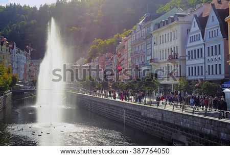 KARLOVY VARY, CZECH REPUBLIC -  SEPT 20, 2012:  Embankments of river Tepla in Karlovy Vary. Karlovy Vary historically famous for its hot springs (13 main springs, about 300 smaller springs) - stock photo