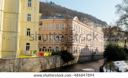 Karlovy Vary, Czech Republic, winter 2012: Street view