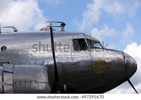 KARLSBORG, SWEDEN - AUGUST 14, 2016: Historical aircraft Douglas DC-3, one of the most significant transport aircraft ever made - illustrative editorial.