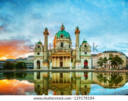 Karlskirche in Vienna, Austria in the morning at sunrise - stock photo