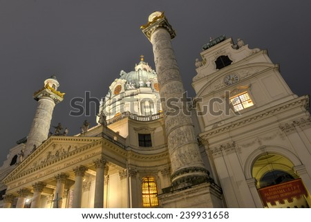 Karlskirche (Saint Charles Church) in Vienna, Austria at night - stock photo