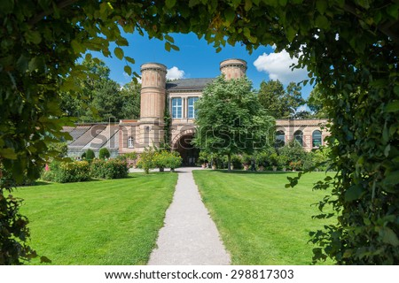 Karlsruhe, Germany. August 30, 2014. Summer View of the botanical garden in Karlsruhe.