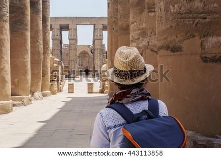 Karnak Egypt tourist. Tourist in the temple of Karnak in Luxor, Egypt - stock photo