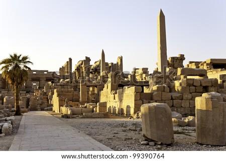 karnak temple in the evening, luxor, egypt - stock photo