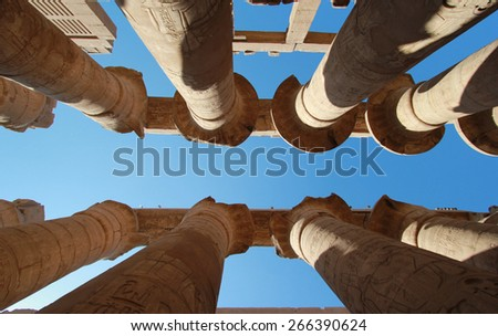 Karnak temple, Luxor, Egypt - 23 November, 2011: Columns at Karnak temple, Luxor, Egypt on 23 November, 2011.