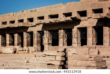 Karnak Tuthmosis Hall Egypt. Karnak Temple Festival Hall of Tuthmosis III. Egypt, Luxor - stock photo