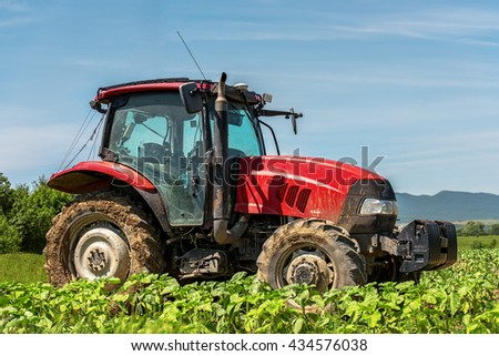 Karnobat, Bulgaria - June 01, 2015: Case IH Puma 140 agricultural tractor on display. Case IH wins two gold medals at AGROTECH - the 20th International Fair of Agricultural Techniques.