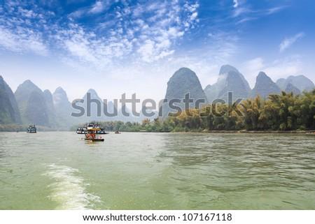 karst mountain landscape in lijiang river,guilin, China - stock photo