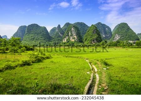 Karst Mountain landscape in rural Guilin, Guangxi, China. - stock photo