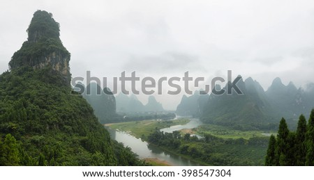 Karst mountains around Li river from Tangjiao nunnery, Guangxi province, China