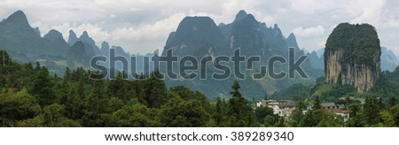 Karst mountains around Yangshuo, Guanxi province, China
