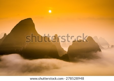 Karst Mountaintops in Guilin, China. - stock photo