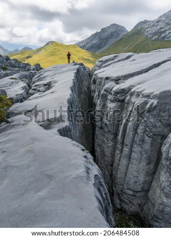 Karst rock formation in New Zealand. - stock photo