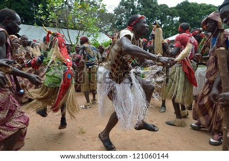 KARTIAK,SENEGAL-SEPTEMBER 18: people dance in the ritual of Boukoutt of Initiation ceremony on September 18, 2012 in Kartiak,Senegal.The ceremony occurs every 30 years and celebrates boys becoming men - stock photo