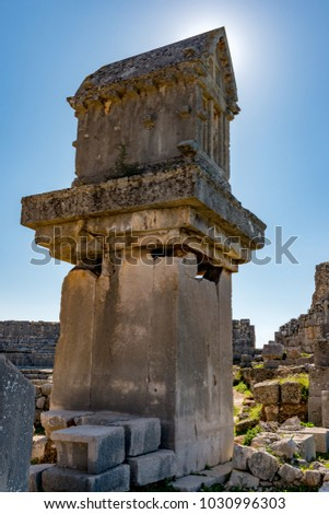 Kas, Antalya - Turkey. January 30, 2018. The ancient city of Xanthos - Letoon (Xantos, Xhantos, Xanths) in Kas, Antalya - Turkey.Became famous by the heroic deeds of its people - not once they burned