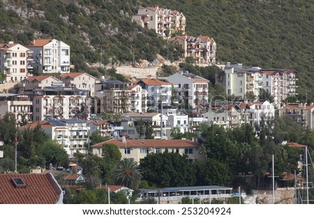 KAS, TURKEY - OCTOBER 15, 2009: View of the Village Kas in Turkey. Kas is a small fishing, diving, yachting and tourist town and part of Antalya Province.  - stock photo