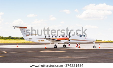 KASANE, BOTSWANA - JAN 11, 2016: Aircraft at Airport Kasane, Botswana. Kasane is a town close to Africa's 'Four Corners', where four countries almost meet: Botswana, Namibia, Zambia and Zimbabwe