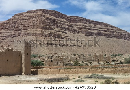 Kasbah and old berber village in Atlas mountains, Morocco - stock photo