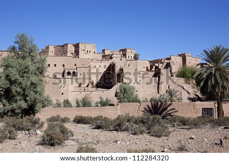 Kasbah Taourirt with clear blue sky, Ouarzazate, Morocco. - stock photo