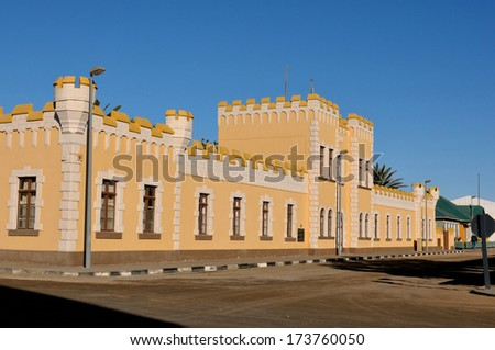Kaserne building, Swakopmund, Namibia in typical German Colonial style. Built in 1905 - stock photo