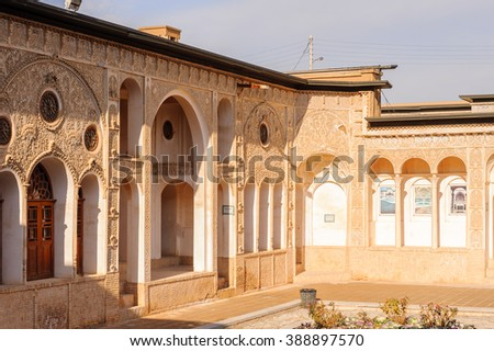 KASHAN, IRAN - JAN 10, 2014: Interior part of the Tabatabaei House,  a historic house in Kashan, Iran on Jan 10, 2014. It was built in early 1880s for the affluent Tabatabaei family.