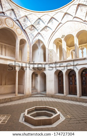 KASHAN, IRAN - JAN 10, 2014: Part of the Tabatabaei House,  a historic house in Kashan, Iran on Jan 10, 2014. It was built in early 1880s for the affluent Tabatabaei family.