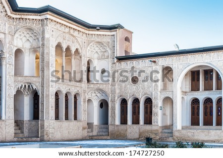 KASHAN, IRAN - JAN 10, 2014: Tabatabaei House,  a historic house in Kashan, Iran on Jan 10, 2014. It was built in early 1880s for the affluent Tabatabaei family.