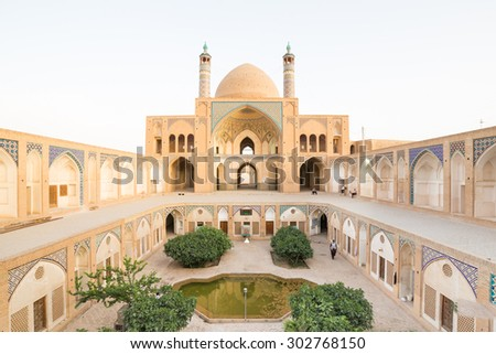 KASHAN, IRAN - MAY 1, 2015: Agha Bozorg Mosque in Kashan, Iran. The mosque was built in the late 18th century by master-mimar Ustad Haj Sa'ban-ali, is located in the center of Kashan.