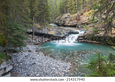 kaskade on the Johnston Canyon trail at the banff national park canada - stock photo