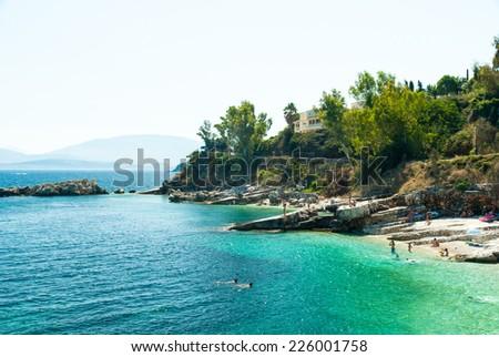 Kassiopi Beach, Corfu Island, Greece. - stock photo