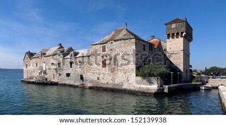 Kastel Gomilica one of seven settlement of town Kastela in Croatia - stock photo