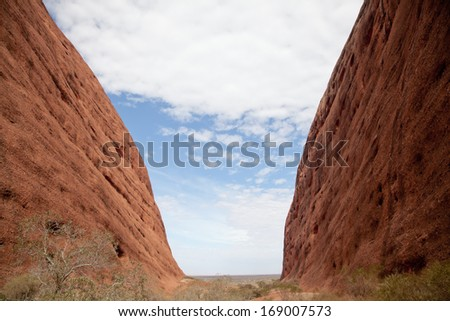 Kata Tjuta - Ayers Rock. Aboriginal sacred place. UNESO world heritage. Red sandstone rock closeup with day changing color painting.