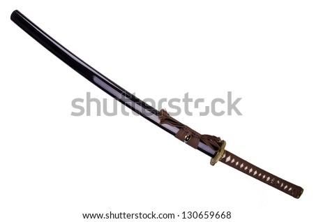 Katana, japanese sword,  isolated on white background. - stock photo