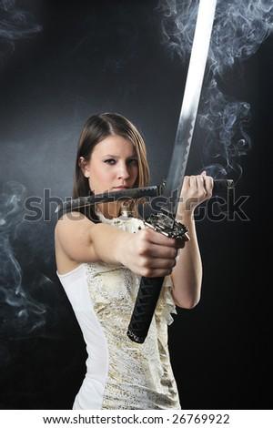 katana warrior - stock photo
