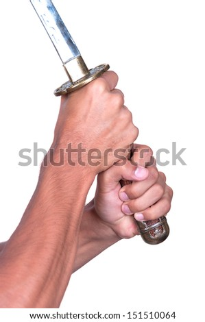 Katana with hands. Making the cut. Isolated on white background.  - stock photo