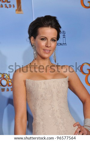 Kate Beckinsale at the 69th Golden Globe Awards at the Beverly Hilton Hotel. January 15, 2012  Beverly Hills, CA Picture: Paul Smith / Featureflash - stock photo