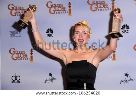 Kate Winslet in the press room at the 66th Annual Golden Globe Awards. Beverly Hilton Hotel, Beverly Hills, CA. 01-11-09 - stock photo