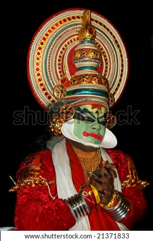 Kathakali tradional dance actor on black
