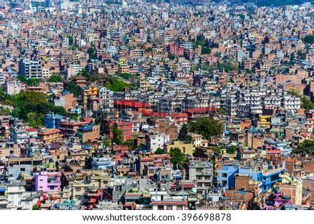 Kathmandu city view from Swayambhunath, Nepal - stock photo