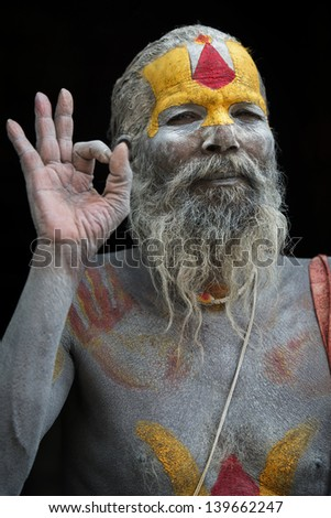 KATHMANDU - MAY 6: A sadhy at Pashupatinath Temple in Kathmandu, Nepal on May 6, 2013. Sadhu is a holy man who devoted his life to meditation.
