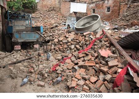 KATHMANDU, NEPAL - APRIL 30, 2015: The debris of buildings in the Bhaktapur city, 20km from the capital Kathmandu