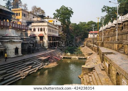 KATHMANDU, NEPAL-APRIL 25: The Pashupatinath Temple 25, 2016 in Kathmandu, Nepal.  Pashupatinath  Temple the oldest Hindu temple in Kathmandu - stock photo